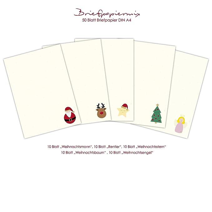 Weihnachtsbriefpapier 1seitig 50 Blatt Briefpapier Weihnachten DIN A4