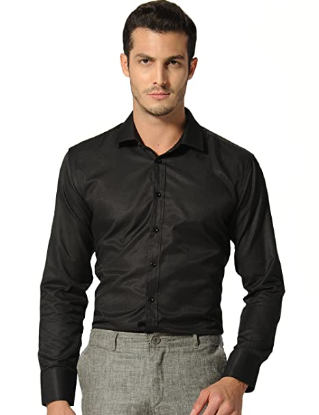SSLR Camisa Hombre para Traje Manga Larga Mens Twill Dress ...