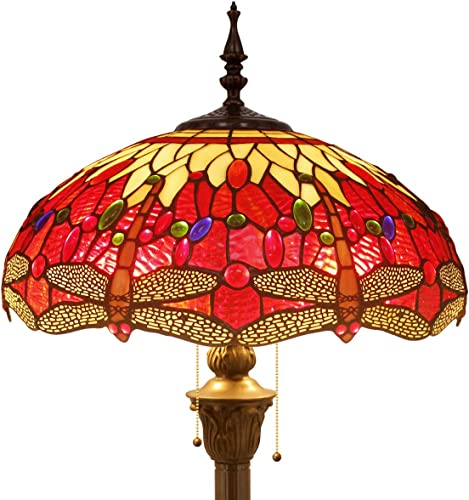 Tiffany Style Floor Standing Lamp W16H64 Inch Tall Red Yellow Stained Glass Crystal Dragonfly Shade 2E26 Antique Reading Lighting Resin Base S328 WERFACTORY LAMPS Bedroom Living Room Table Lover Gift