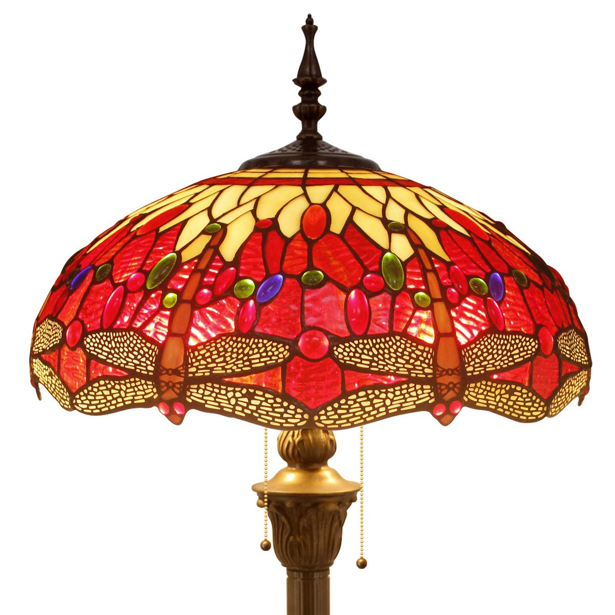 Tiffany Style Floor Standing Lamp 64 Inch Tall Red Yellow Stained Glass Shade Crystal Bead Dragonfly 2 Light Antique Base for Bedroom Living Room Reading Lighting Table Set S328 WERFACTORY by WERFACTORY