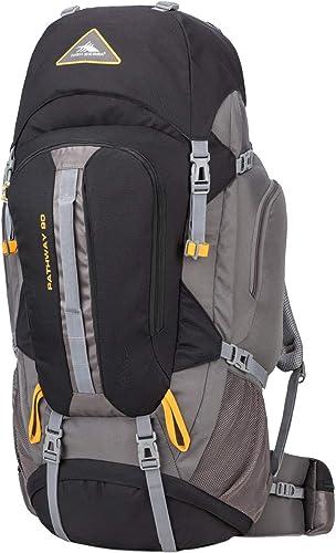 High Sierra Pathway Internal Frame Hiking Pack, Black Slate Gold, 90L