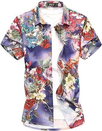 MOGU Camisa de Flores para Hombres Camisa de Manga Corta con ...