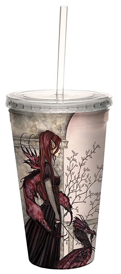 Tree-Free Greetings cc33601 Fantasy Enchanted Journey Rhiannon Fairy Double Walled Cool Cup with Reusable Straw by Amy Brown 16-Ounce Tree Free