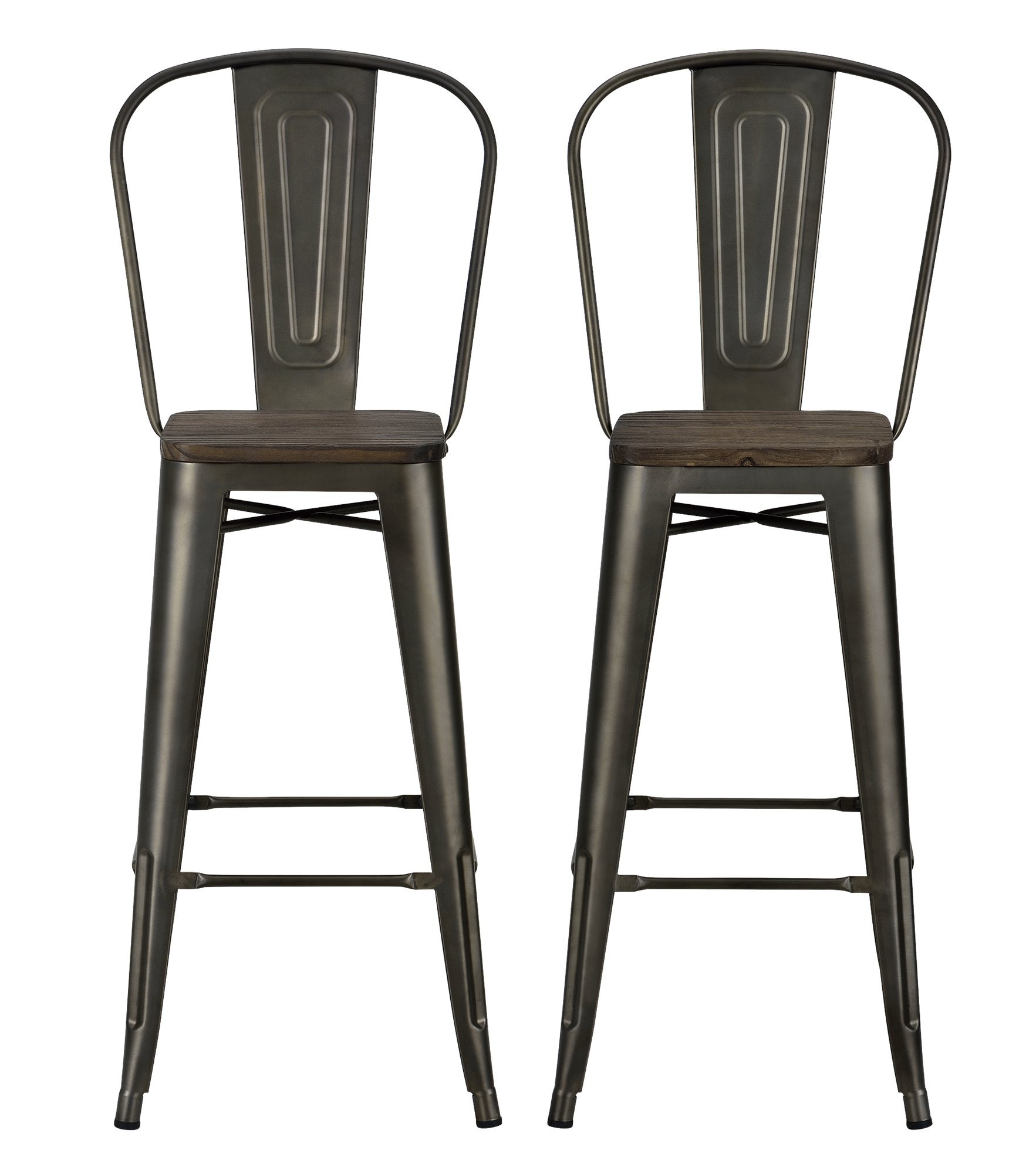 DHP Luxor Metal Counter Stool with Wood Seat and Backrest, Set of two, 30'', Antique Copper by DHP (Image #5)