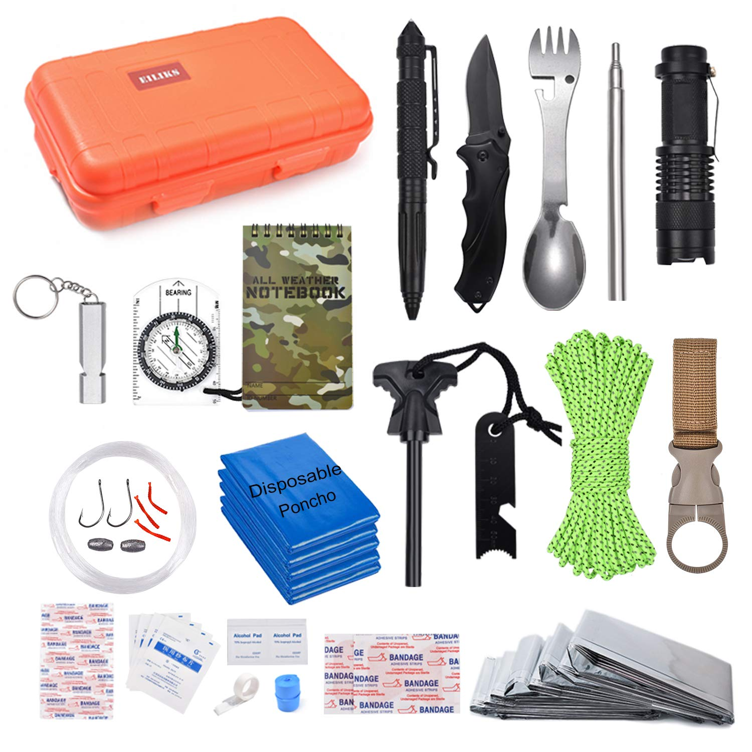 EILIKS Survival Kits 47 in 1 Outdoor Emergency SOS Survival Gear Kits for Car Camping Hiking Trekking Wild Adventure Earthquake Survive Tool for Him Father Husband Men Dad Boyfriend Gift by EILIKS