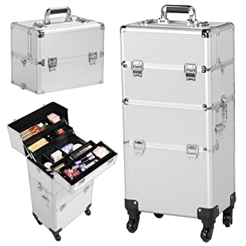 7f2a47f2f4bb Gotobuy 3 in 1 Train Makeup Cosmetic Cases Nail Technician Supplies(Silver  Makeup Case Trolley)