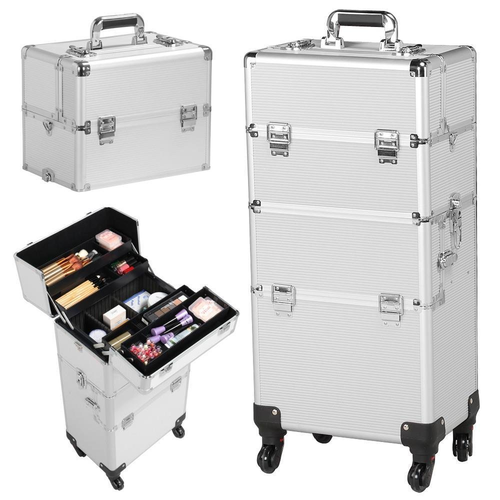 Gotobuy 3 in 1 Train Makeup Cosmetic Cases Box Nail Technician Supplies Wheel (Silver Makeup Case Trolley)
