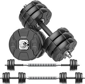 RUNWE Adjustable Dumbbells Barbell Set of 2, 40 44 66 88 lbs Free Weight Set with Steel Connector Home Office Gym Fitness Workout Exercises for Men/Women/Beginner/Pro