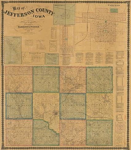 Jefferson County Iowa Map.Amazon Com Vintage 1871 Map Of Map Of Jefferson County Iowa
