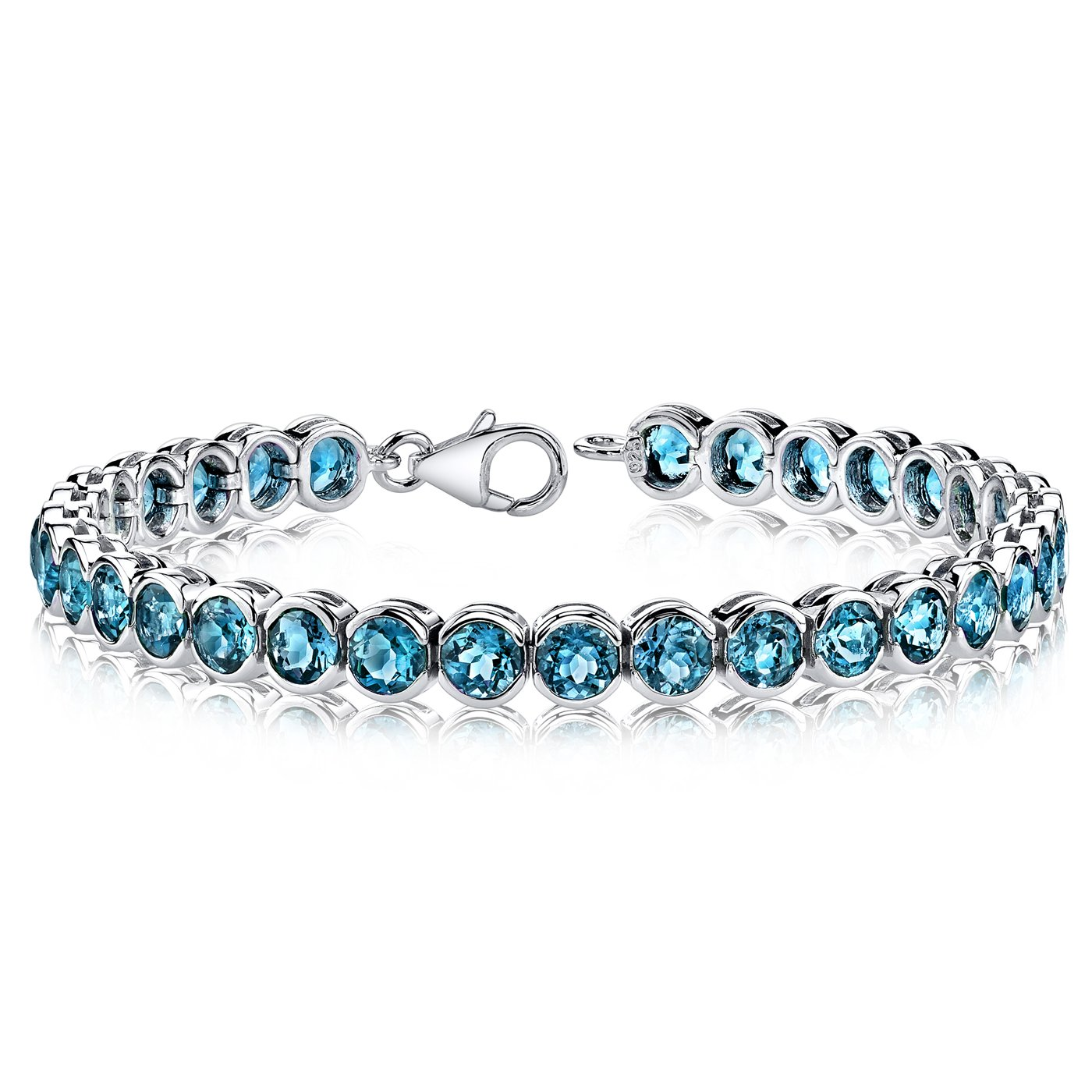 19.00 carats Round Cut London Blue Topaz Tennis Bracelet in Sterling Silver Rhodium Nickel Finish by Peora
