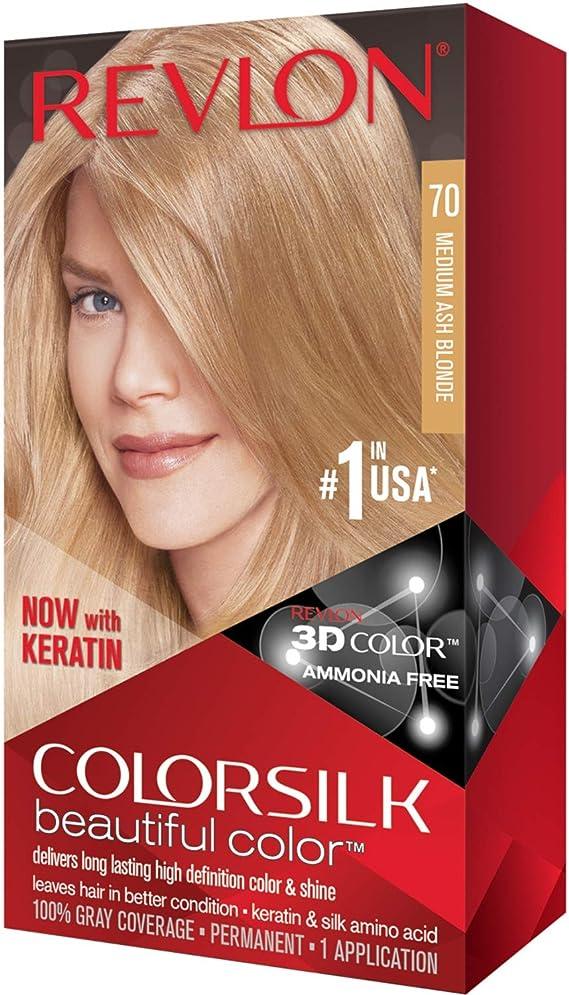 Revlon ColorSilk Hair Color, 70 Medium Ash Blonde (paquete ...