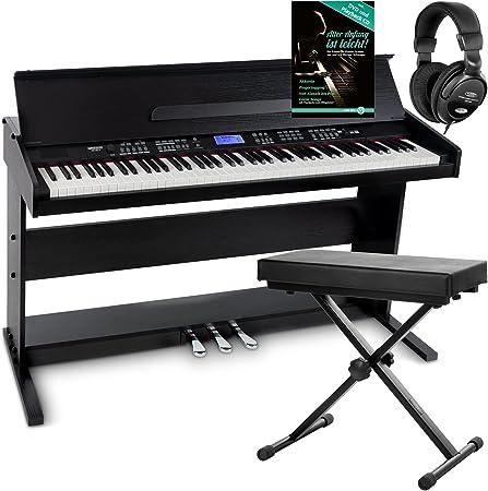 Piano digital FunKey DP-88 negro set con auriculares, banco y manual