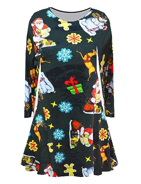 Chicas Papá Noel Navidad Imprimir Flared A Line Vestido Verde Oscuro 130cm Encaja 7-8 Años de Edad: Amazon.es: Ropa y accesorios