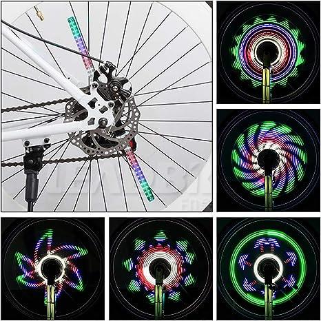 Achort Rueda de Bicicleta Luces 64 LED, 30 Patrones, Rueda de Ciclismo, Luz de Radios, llanta