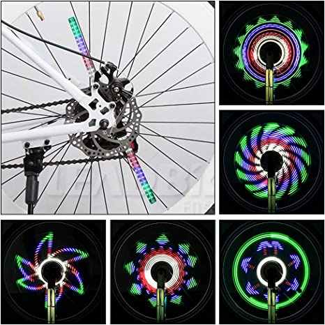 Achort Rueda de Bicicleta Luces 64 LED, 30 Patrones, Rueda de ...