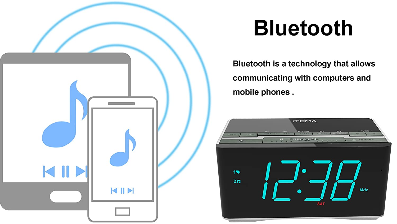 Dual Alarm With Snooze Usb Itoma Alarm Clock With Fm Radio Bluetooth Speakers