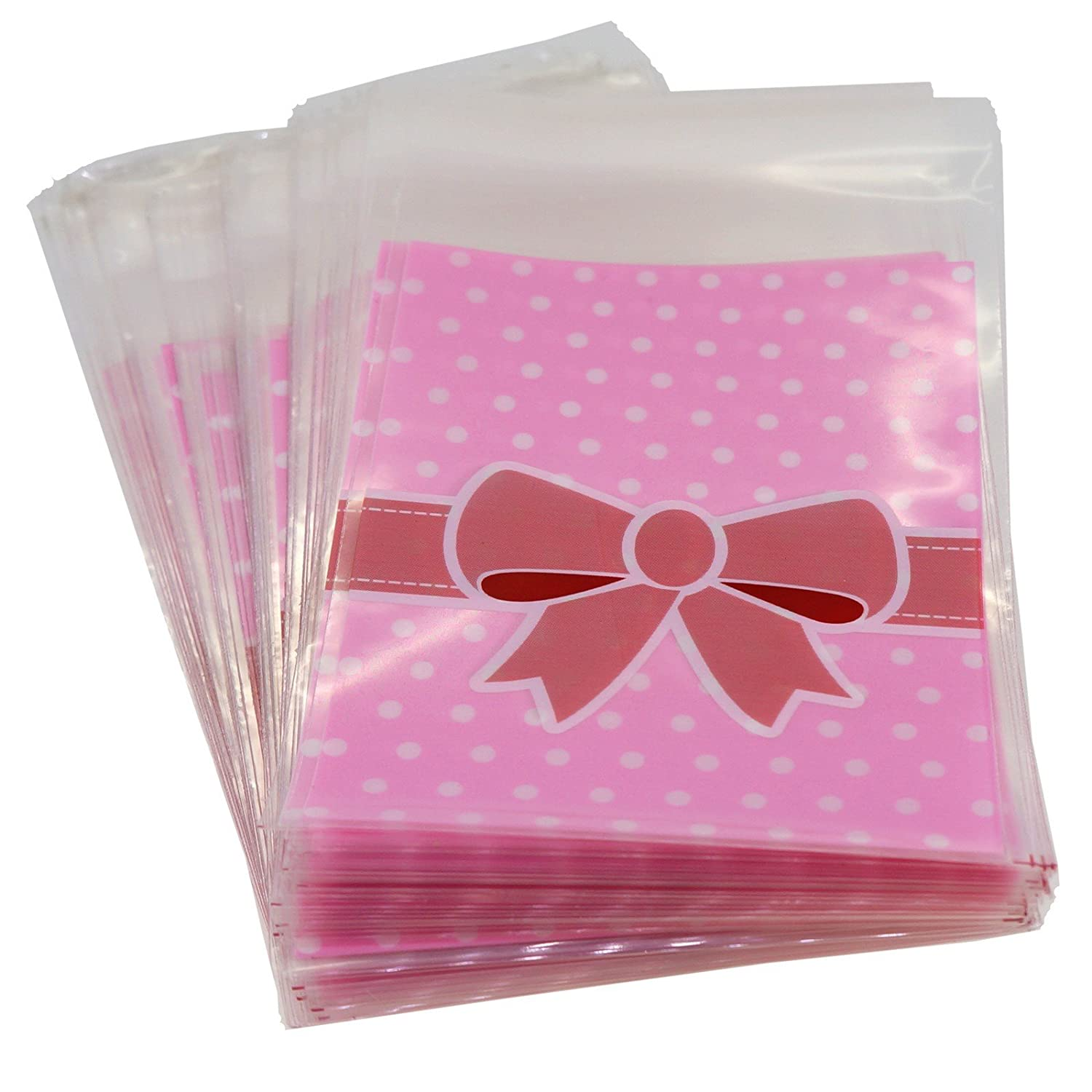 Pink n Blue Bowknot Flat Cellophane Bags with Adhesive Closure, 95/Pack