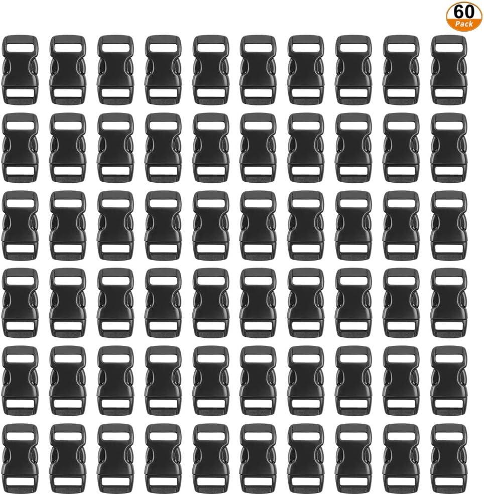 60psc Mini Hebillas de Plástico 10mm, Cierre de Hebillas de Liberación Lateral Ajustable Negro Hebilla para Pulseras de Paracord Collar de Perro Correas Mochila (adecuado para 10mm correa)