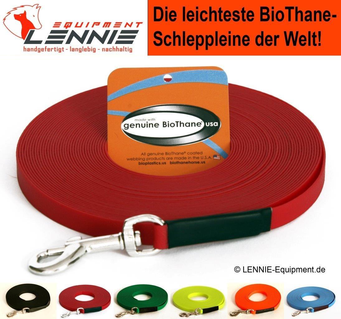 BioThane® Schleppleine für sehr kleine Hunde, 9 mm Ultra Thin (1-30 Meter, 6 Farben, GENÄHT, ohne Handschlaufe)