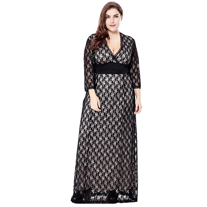 37a6af98e1d Image Unavailable. Image not available for. Color  Exlura Women s Long  Sleeve V-Neck Plus Size Maxi Lace Dress