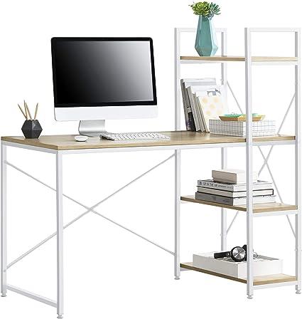 [en.casa] Escritorio con 4 Estantes a la Derecha 122 x 120 x 64 cm Escritorio de Oficina con Estructura de Metal - Mesa de Trabajo Blanco y Color ...