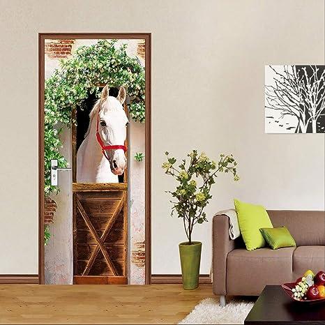 Amazon Com Eanpet 3d Door Sticker Adhesive Murals Wall Sticker For Home Decor Bedroom Front Door Decoration 30 X 79 Inch White Horse Home Kitchen