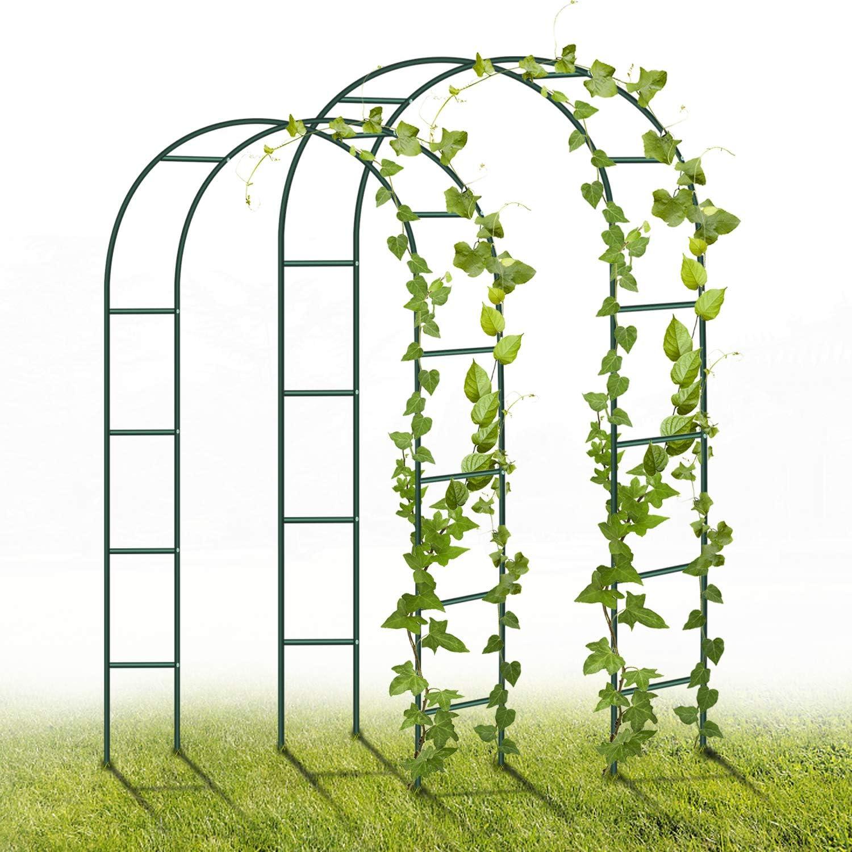 Green 2.4M Garden Archway Powder-Coated Steel Trellis for Plants Support Roses Climbing Archway Garden Decoration YAOBLUESEA Metal Garden Arch