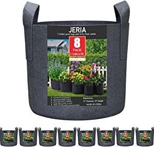 JERIA 8-Pack 5 Gallon Grow Bags, Aeration Fabric Pots with Handles (Black)