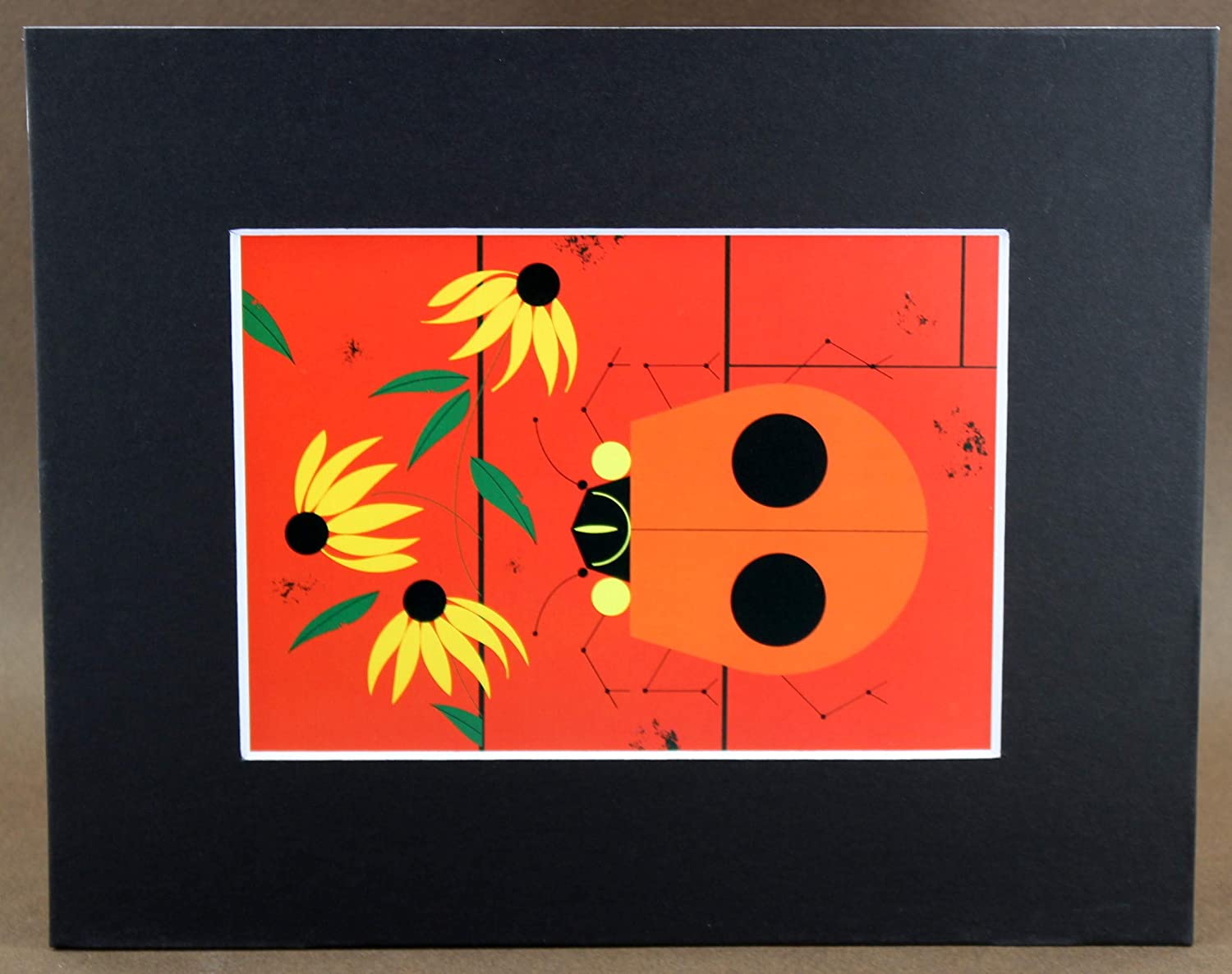Charley Harper Print, The Bug That Bugs Nobody, Ladybugs, Black Matted, Large