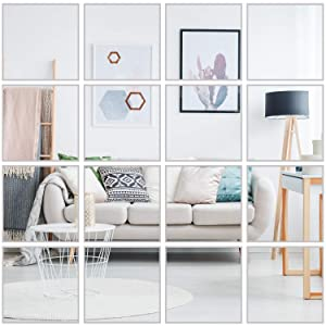 16 Pcs Flexible Non Glass Acrylic Mirror Sheet Tiles Self Adhesive Plastic Wall Stickers Mirror for Bathroom Wall DIY Decor 6 X 6 Inch Each