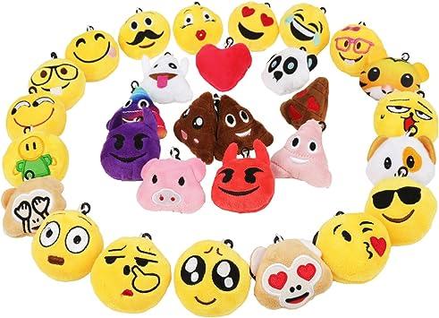 Portachiavi con piccolo portachiavi Emoji in cotone peluche portachiavi