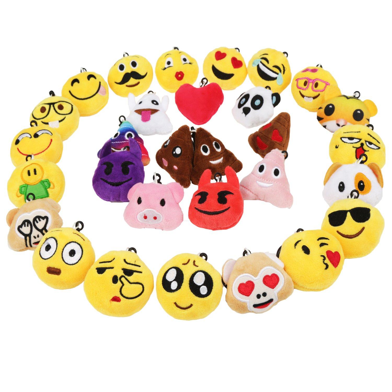 Mini Emoji Llavero Emoción Llavero Felpa Zindoo Fiesta de Cumpleaños Favores Rellenos del Bolso del Partido Regalitos Divertidos para las Fiestas de los Niños Colgante de Decoración para Coche 16 PCS [Clase de eficiencia energética A+++] WZD-Store