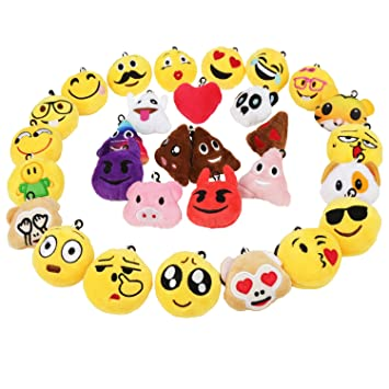 Zindoo Mini Emoji Llavero Emocion Llavero Felpa and Photo Booth Props (30 Emoji)