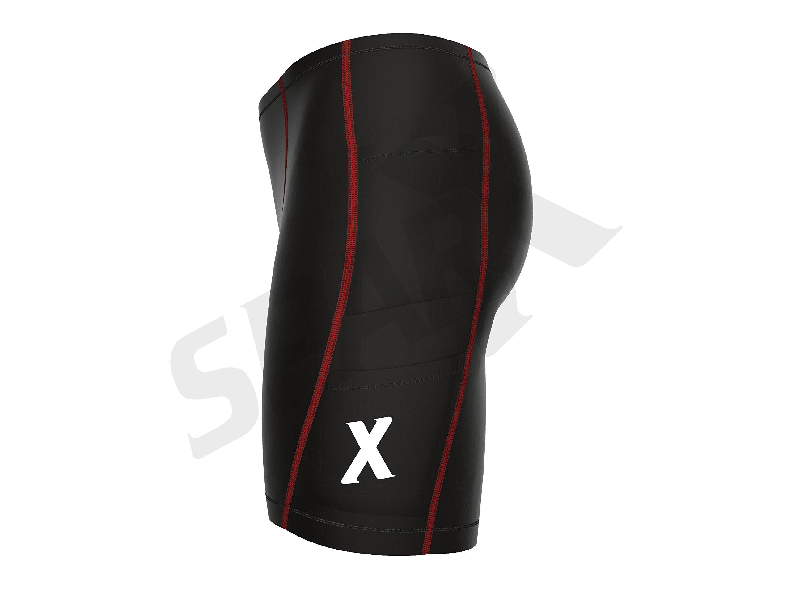 Sparx Energy Compression Triathlon Short Tri Cycling Short Bike Swim Run 7060 (Large, Black/red) by Sparx Sports (Image #4)