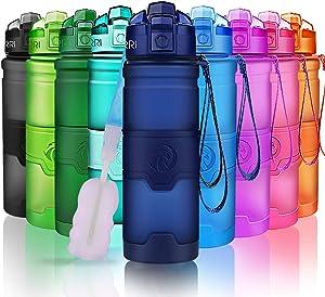 ZORRI Sports Water Bottle, 400/500/700ml/1L, BPA Free Leak Proof Tritan Lightweight Bottles for Outdoors,Camping,Cycling,Fitness,Gym,Yoga- Kids/Adults Drink Bottles with Filter, Lockable Pop Open Lid