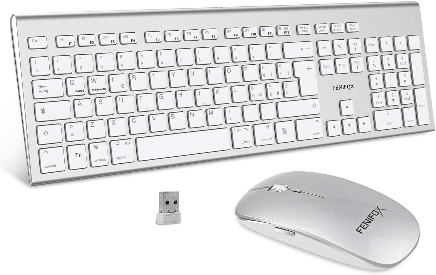FENIFOX Teclado y Ratón inalámbrico con doble interruptor del sistema ergonómico italiano 2.4 G USB QWERTY, para Mac iMac Windows, Android, PC, computadora, computadora portátil, TV (blanco)