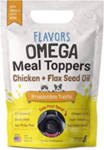 Flavors Omega Meal Toppers Chicken + Flax Seed Oil Recipe - with ALA Omega 3 Fatty Acid- Natural, Human Grade, Grain Free Food Topper and Kibble Seasoning for Dogs and Cats (17 FL OZ - 100+ Servings)