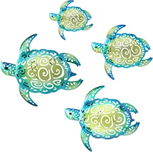 YOUIN Metal Sea Turtle Wall Decor Art,Large Turtle Hanging Wall Decor,Beach Theme Turtle Sealife Decor Pool Decorations for Home Bathroom Porch Patio Indoor Outdoor Garden Inside Outside,Set of 4