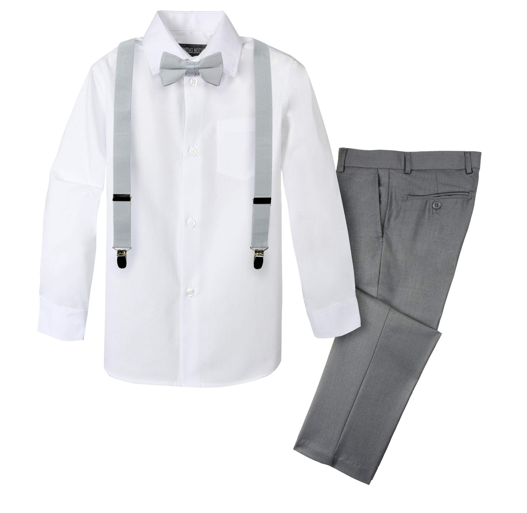 Spring Notion Boys' 4-Piece Suspender Outfit 3T Grey/Grey