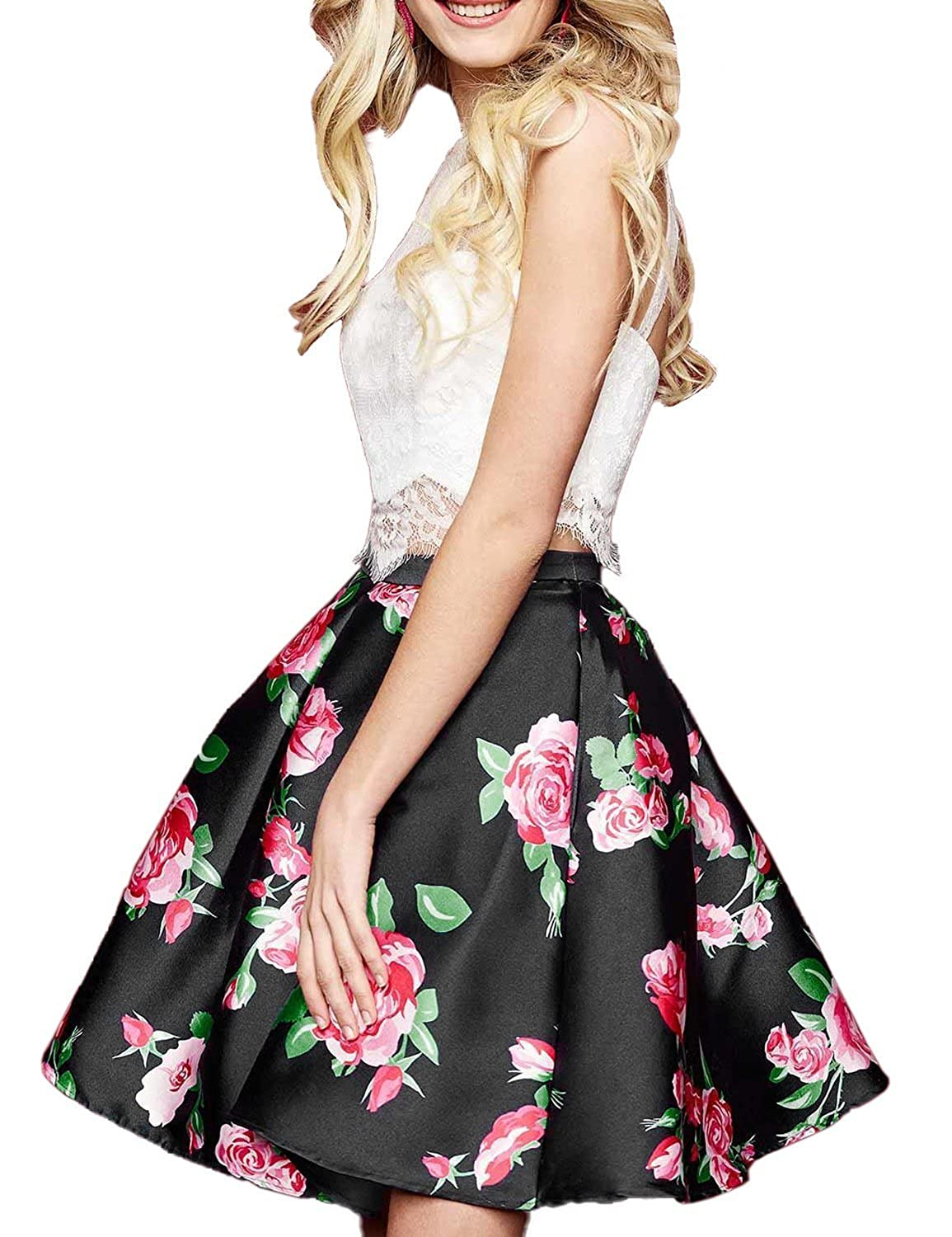 Black Yiweir Women's Short Two Piece Homecoming Dresses 2018 Floral Lace Formal Prom Gowns YF013