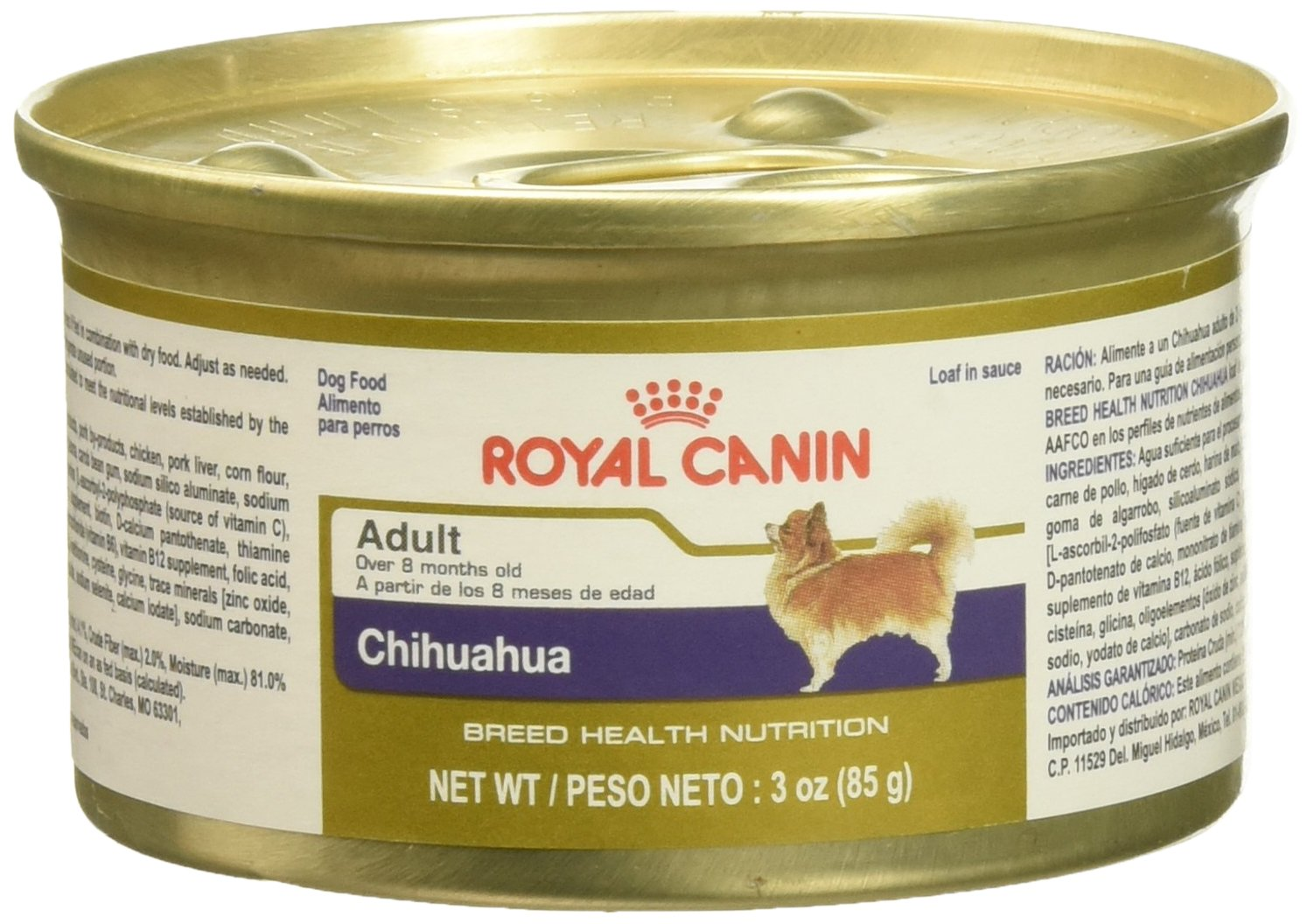 Royal Canin Breed Health Nutrition Chihuahua Loaf in Sauce Dog Food (Pack of 4/1), 3 oz