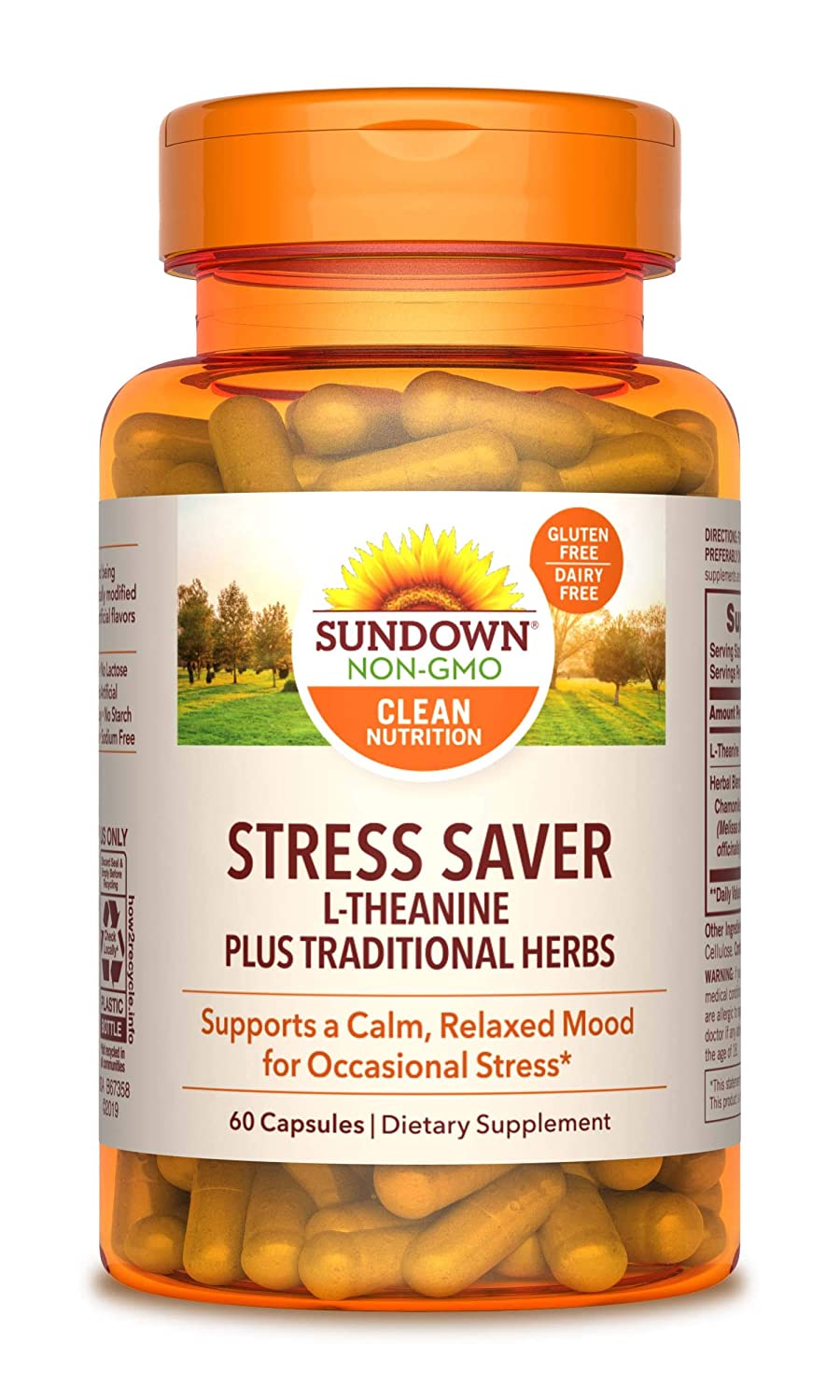 Sundown L-Theanine Stress Formula, 60 Capsules (Packaging May Vary)