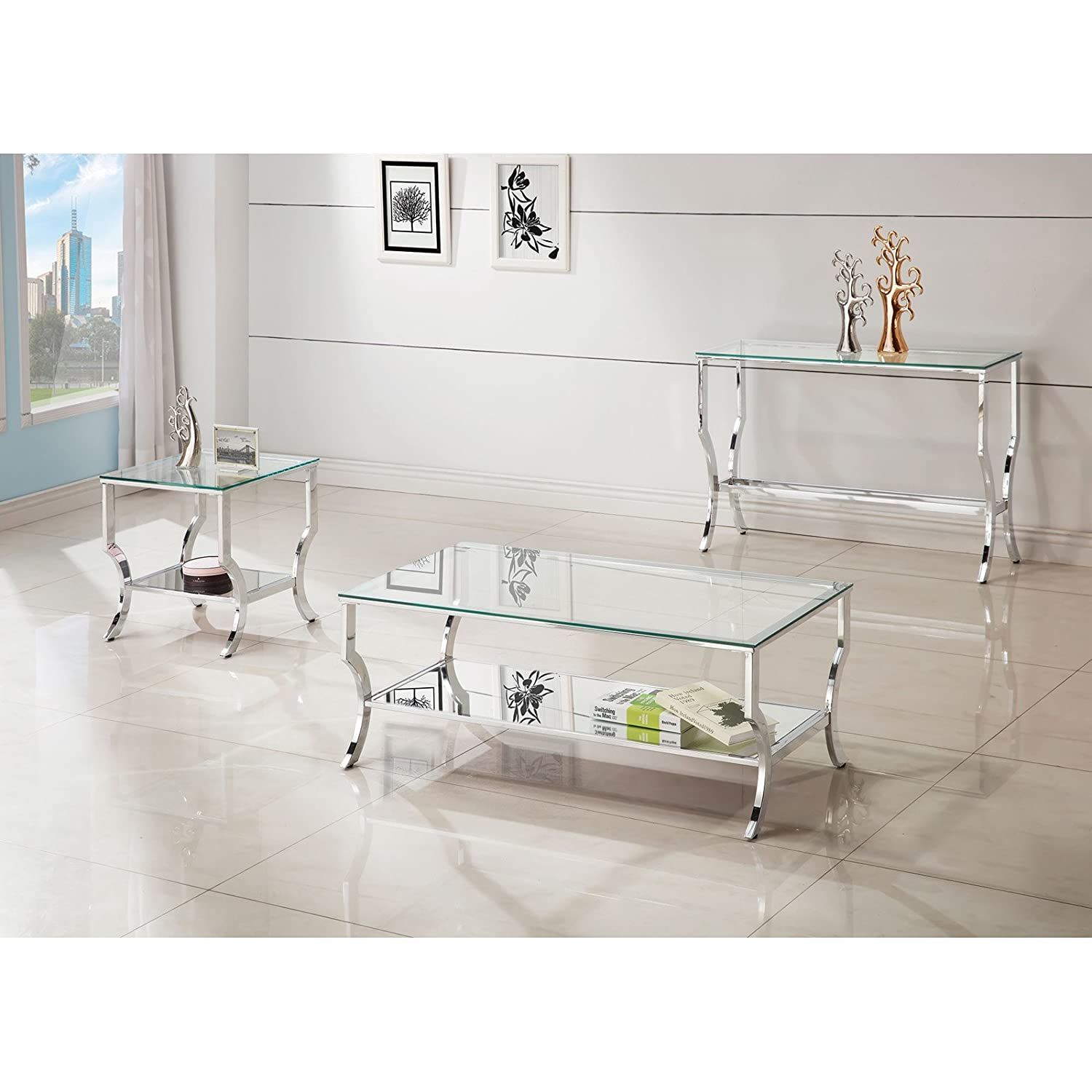 Amazon Coaster Glass Top Console Table in Chrome Kitchen