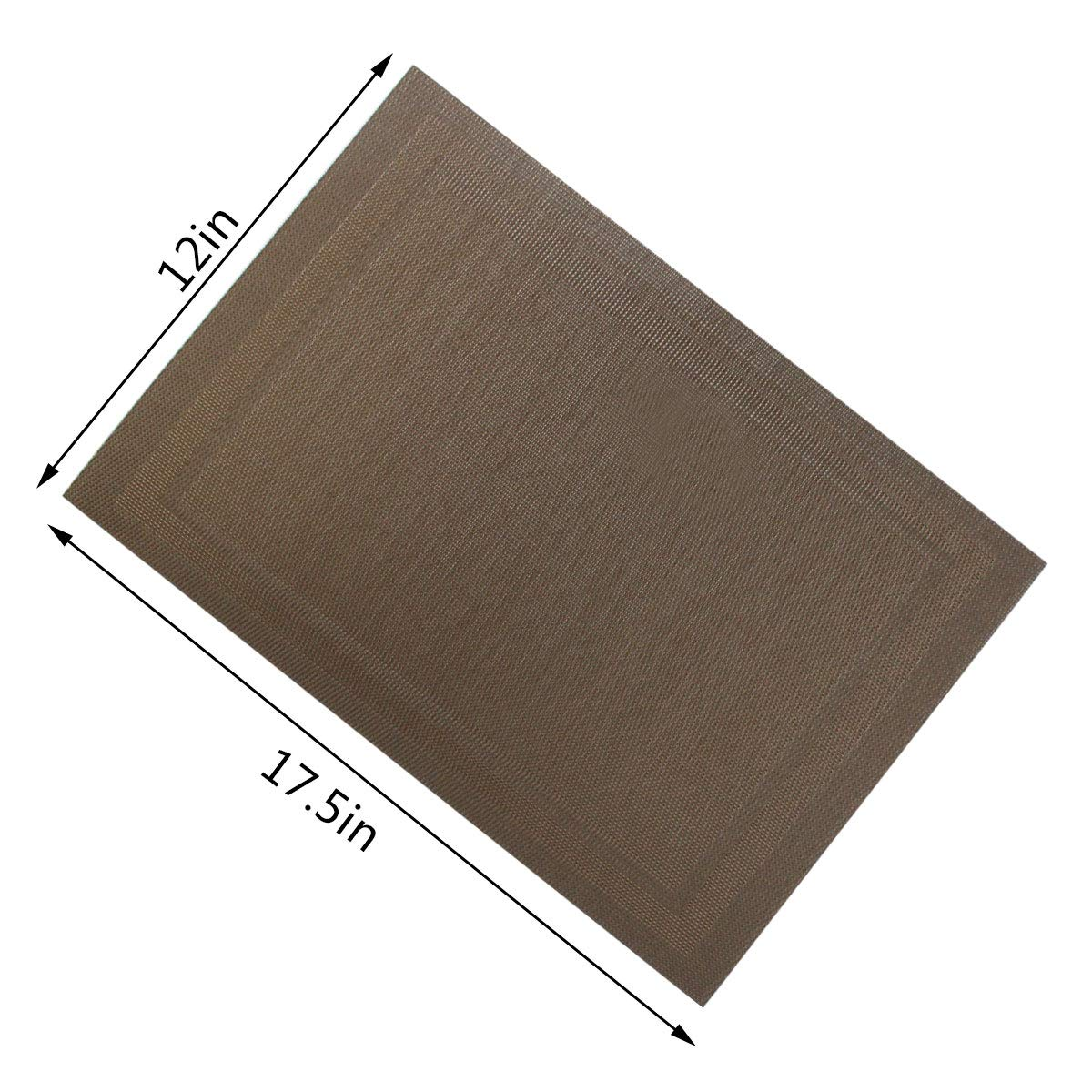 Tongcloud Washable Placemats Braided Mat Stain Resistant Anti-Skid Table Mats Vinyl Mats for Kitchen, Hotel, Restaurant, Grey and Brown Set of 8