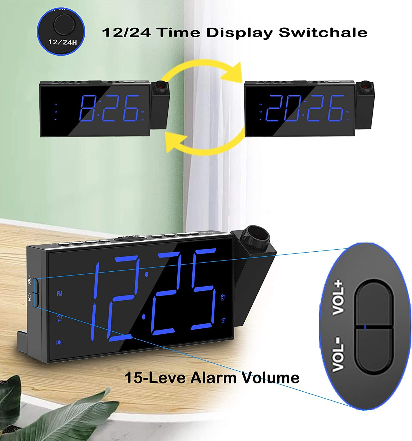 Blue Loud Bedside Dual Alarm Clock with Large Display and Bed Shaker for Bedroom Heavry Sleeper Strong Super Loud Bed Shaker Battery Operated Colorful Light Lamps Digital Clock for Teen Girls