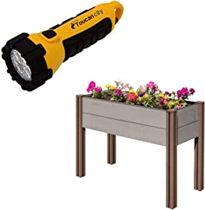 Toucan City LED Flashlight and Stratco Composite Wood Plastic Elevated Raised Garden Bed LG 34498