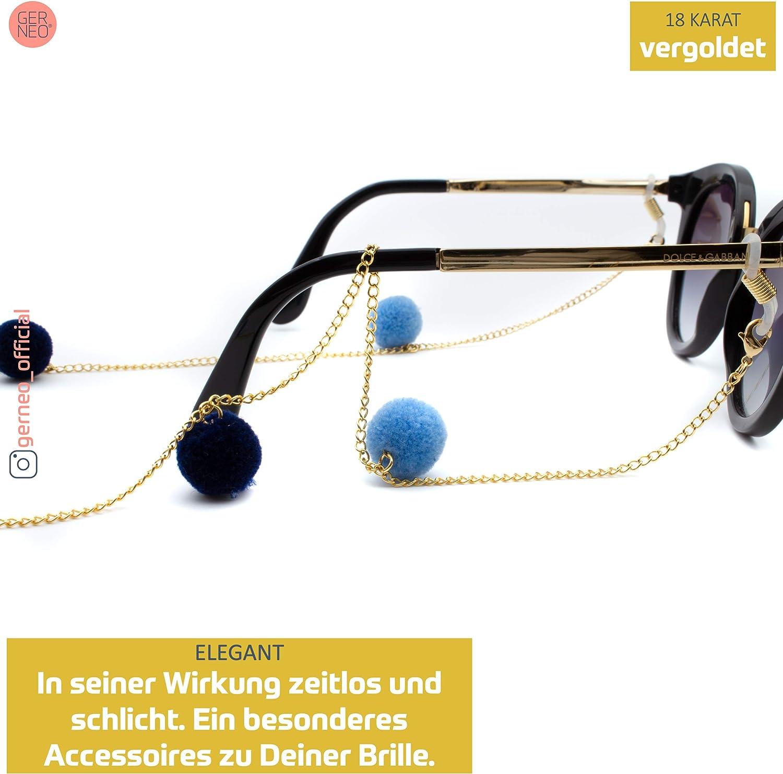 Kette mit Bommeln in Samtoptik GERNEO gold - Unisex f/ür Lesebrille /& Sonnenbrille aus 18 Karat Gold DAS ORIGINAL Premium Brillenkette /& Brillenband in diversen Farben Kollektion 2020
