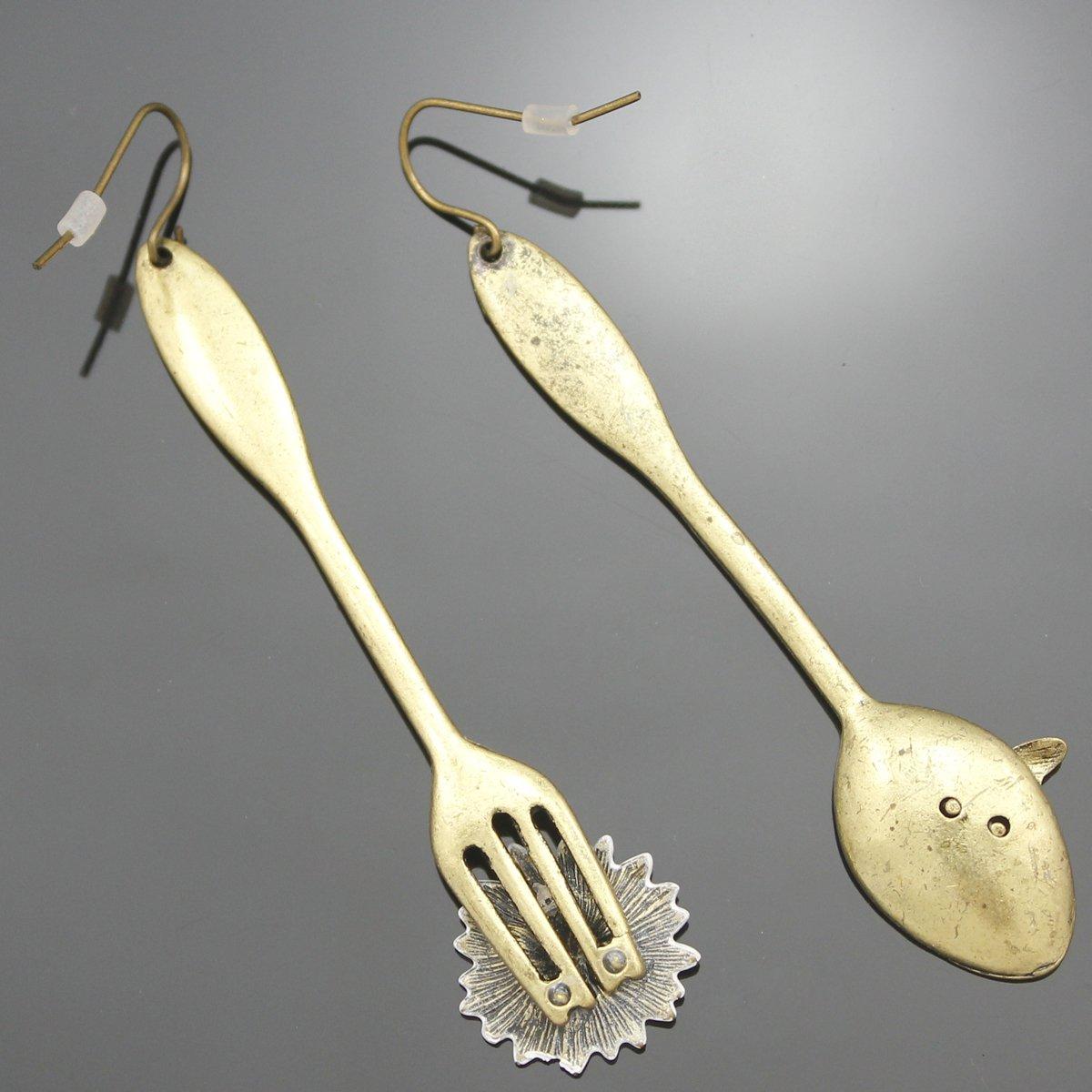 RechicGu Vintage Gold Art Deco Spoon Bee Fork Flower Utensil Mismatch Dangle Earrings