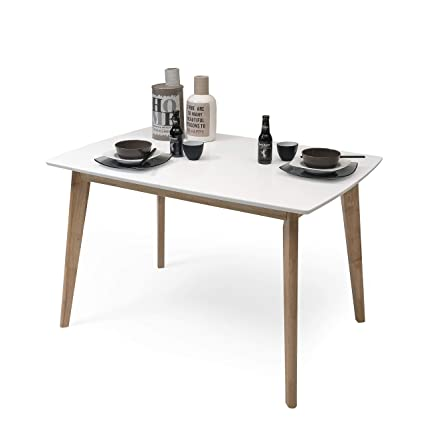 Homely - Mesa de Comedor-Cocina Extensible de diseño nórdico MELAKA sobre  Lacado Blanco y Patas de Madera de Roble