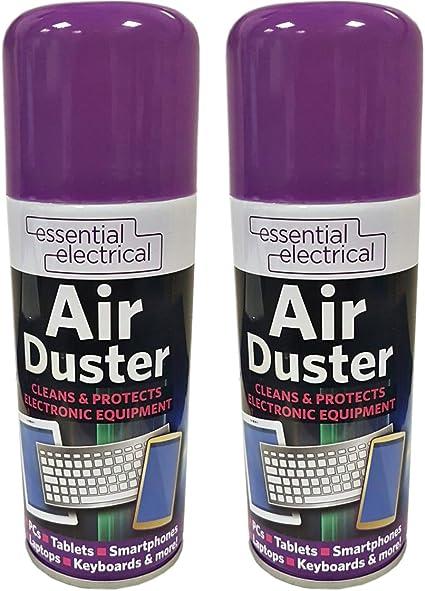 Lote de 2 botellas de 200 ml de aire comprimido, con atomizador, limpia y protege ordenadores portátiles, teclados, aparatos electrónicos. 200 ml ...